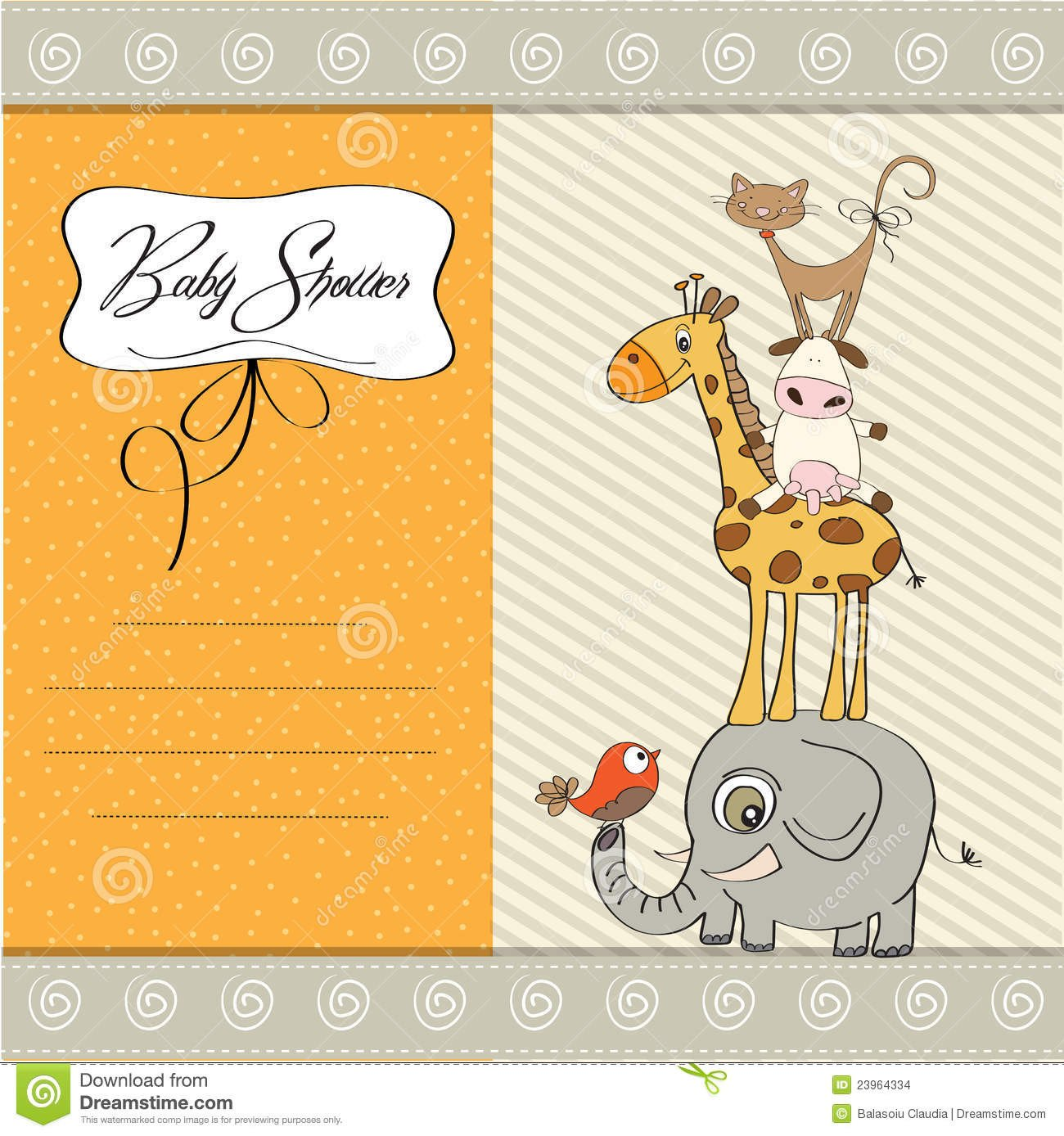 Baby Shower Card Template Baby Shower Template Card Stock Vector Illustration Of
