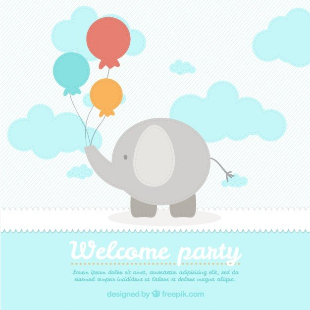 Baby Shower Card Template Cute Elephant Baby Shower Card Template Vector