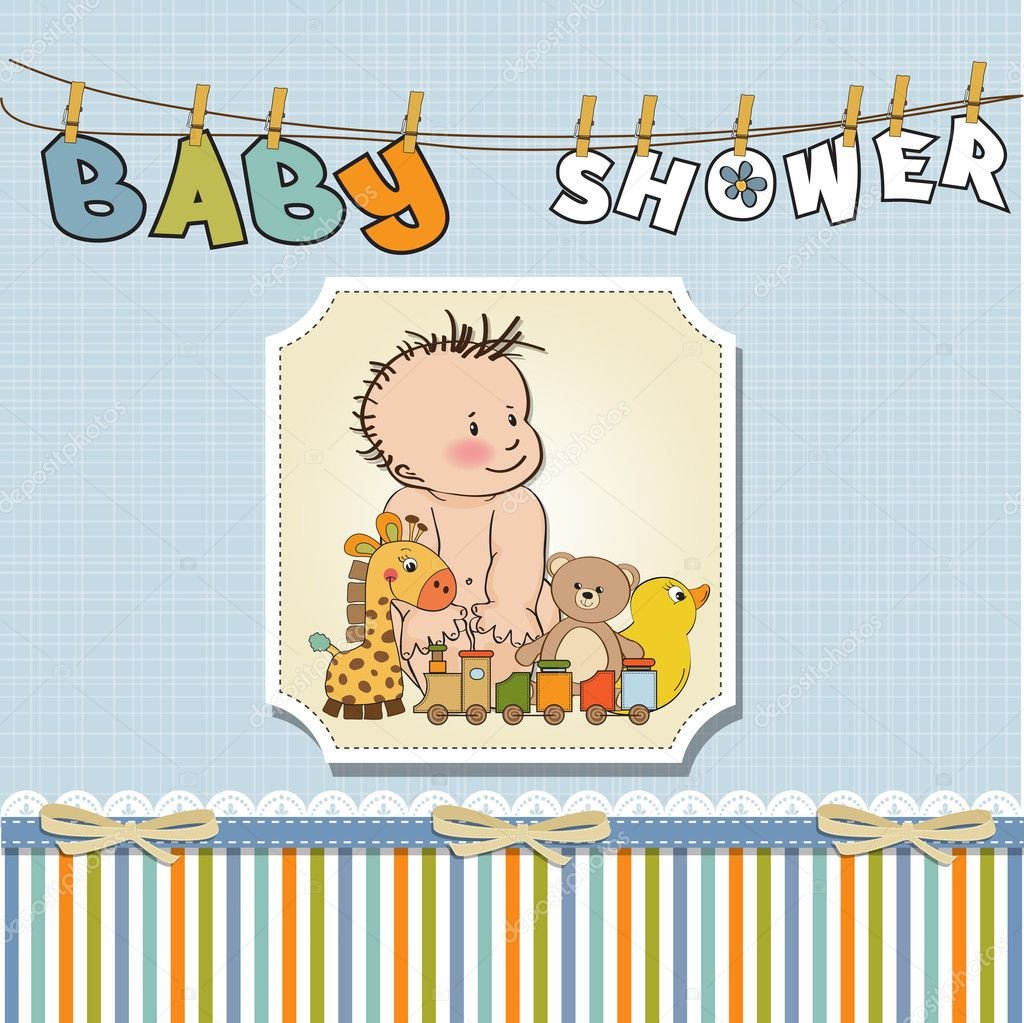 Baby Shower Card Template New Baby Boy Template Shower Card — Stock