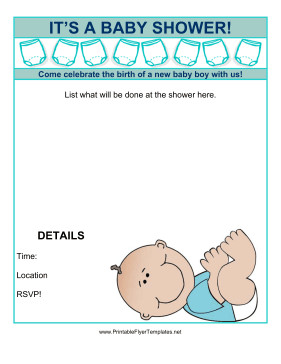 Baby Shower Flyers Template Baby Shower Flyer Boy
