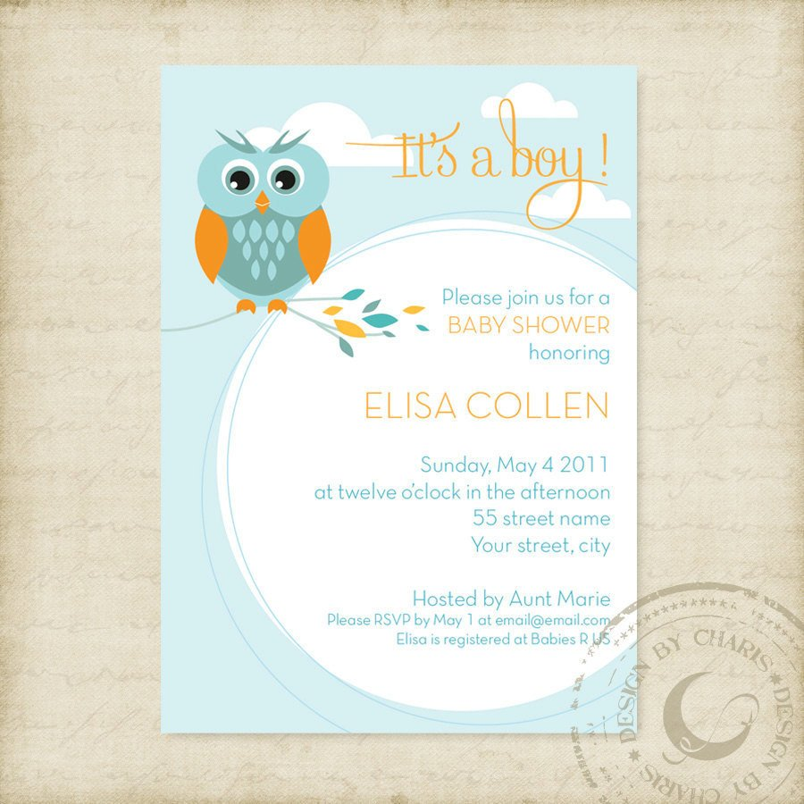 Baby Shower Invitation Free Template Baby Shower Invitation Template Owl theme Boy or Girl