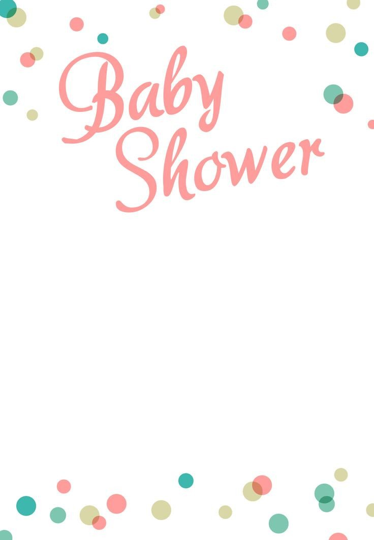 Baby Shower Invitation Template Dancing Dots Borders Free Printable Baby Shower