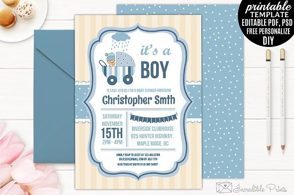 Baby Shower Invitations Templates Editable Boy Baby Shower Invitation Template Invitation Templates