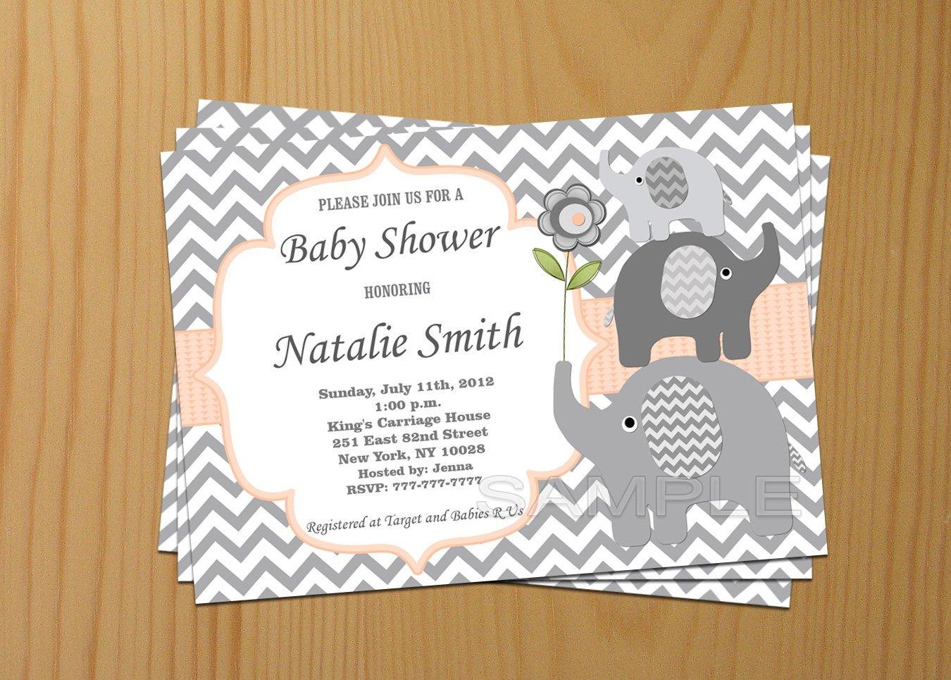 Baby Shower Invitations Templates Editable Editable Baby Shower Invitation Elephant Baby Shower