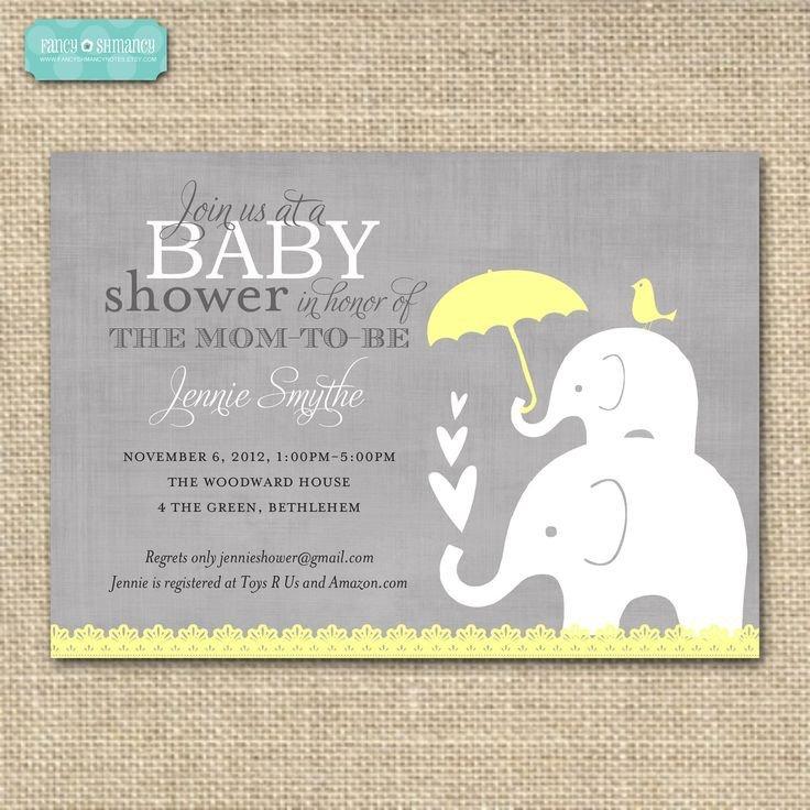 Baby Shower Invitations Templates Editable Editable Baby Shower Invitation Yellow and Grey Elephant