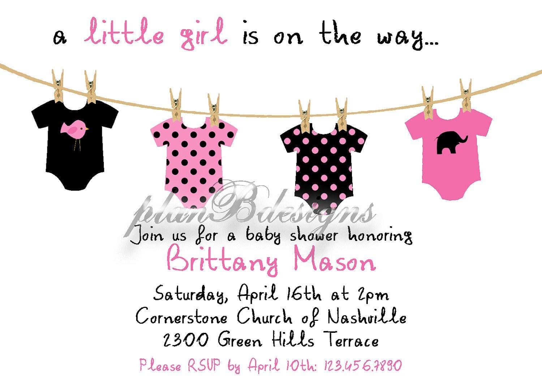 Baby Shower Invitations Templates Editable Esie Clothesline Baby Shower Invitation Colors Editable