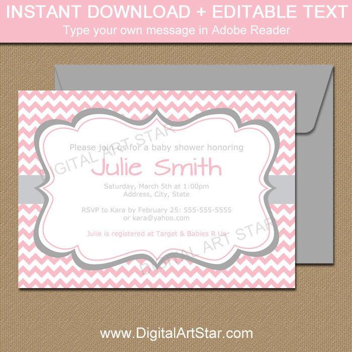 Baby Shower Invitations Templates Editable Pink and Gray Baby Shower Invitation Template Editable Baby