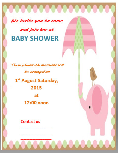 Baby Shower Invite Template Word Baby Shower Invitation Template