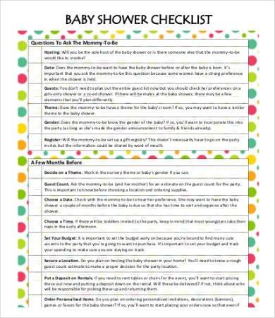 Baby Shower Planning Checklist Baby Shower Checklist Template 8 Free Word Pdf format