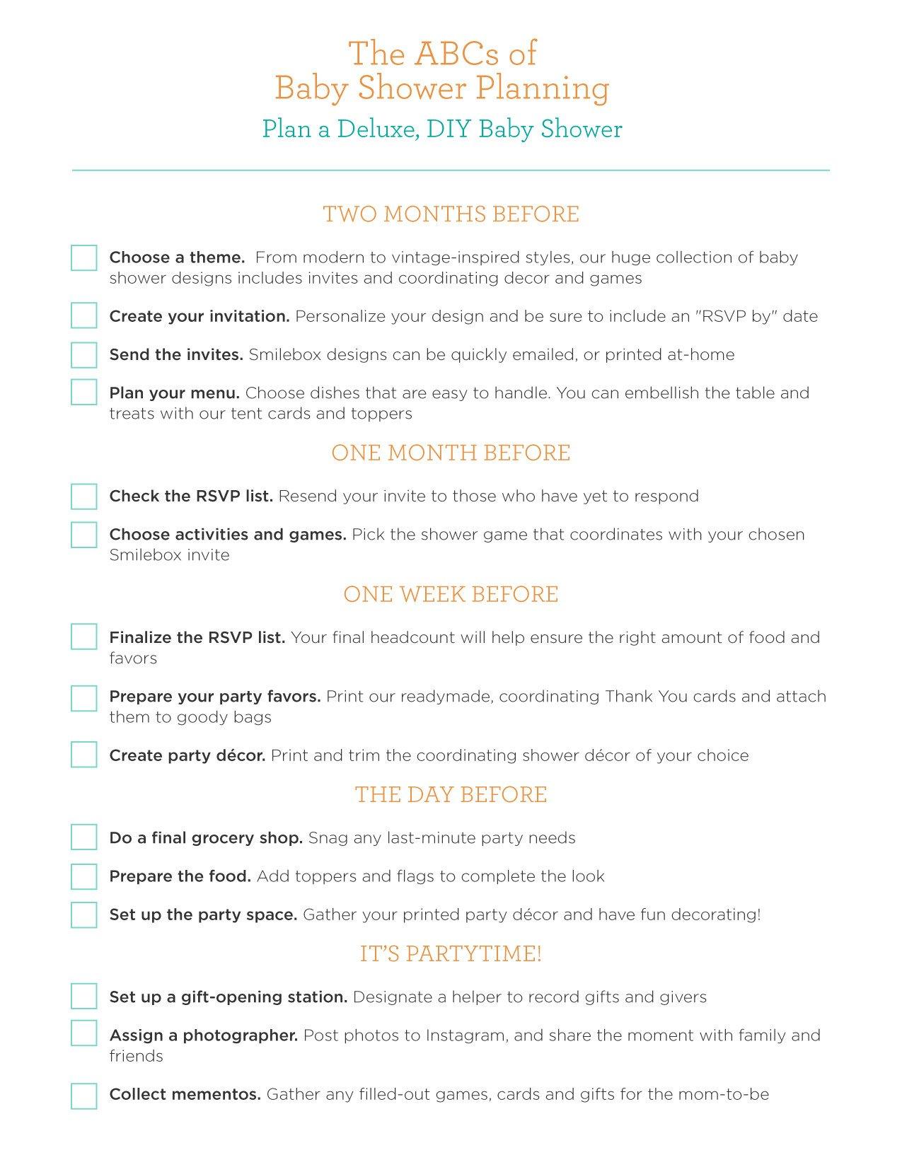 Baby Shower Planning Checklist Baby Shower Planning Guide Smilebox