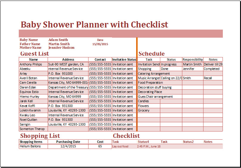 Excel Baby Shower Planner with Checklist Template