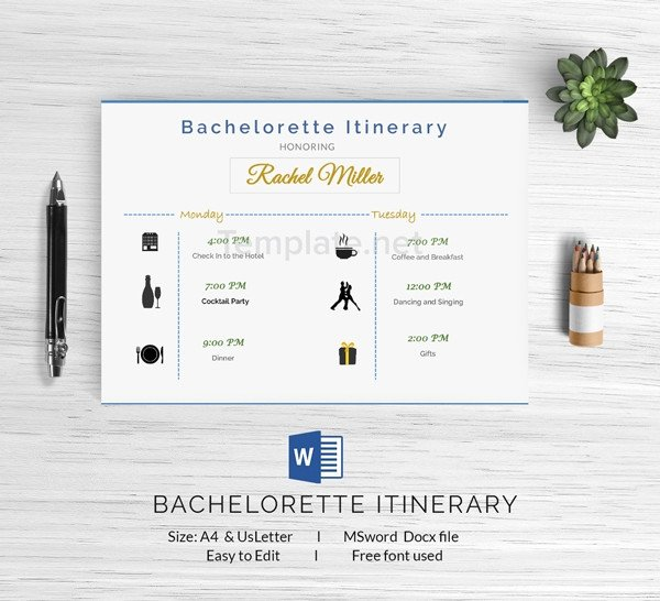 Bachelorette Itinerary Template Free 15 Free Itinerary Templates Travel Wedding Vacation