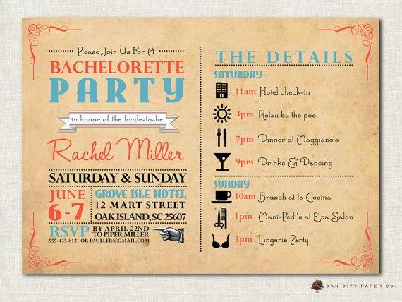 Bachelorette Itinerary Template Free Bachelorette Invitation Bachelorette Party by