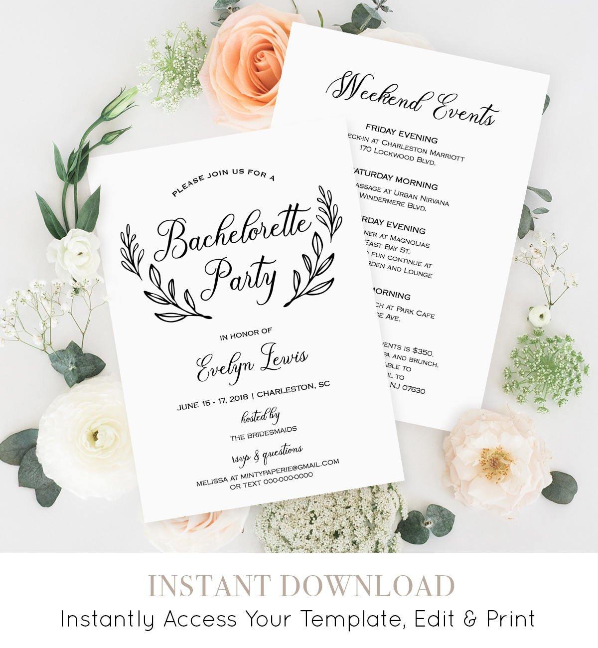 Bachelorette Itinerary Template Free Bachelorette Party Invitation Template Printable
