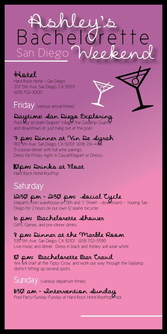 Bachelorette Itinerary Template Free Bachelorette Party Itinerary by Madewithloveinvites On