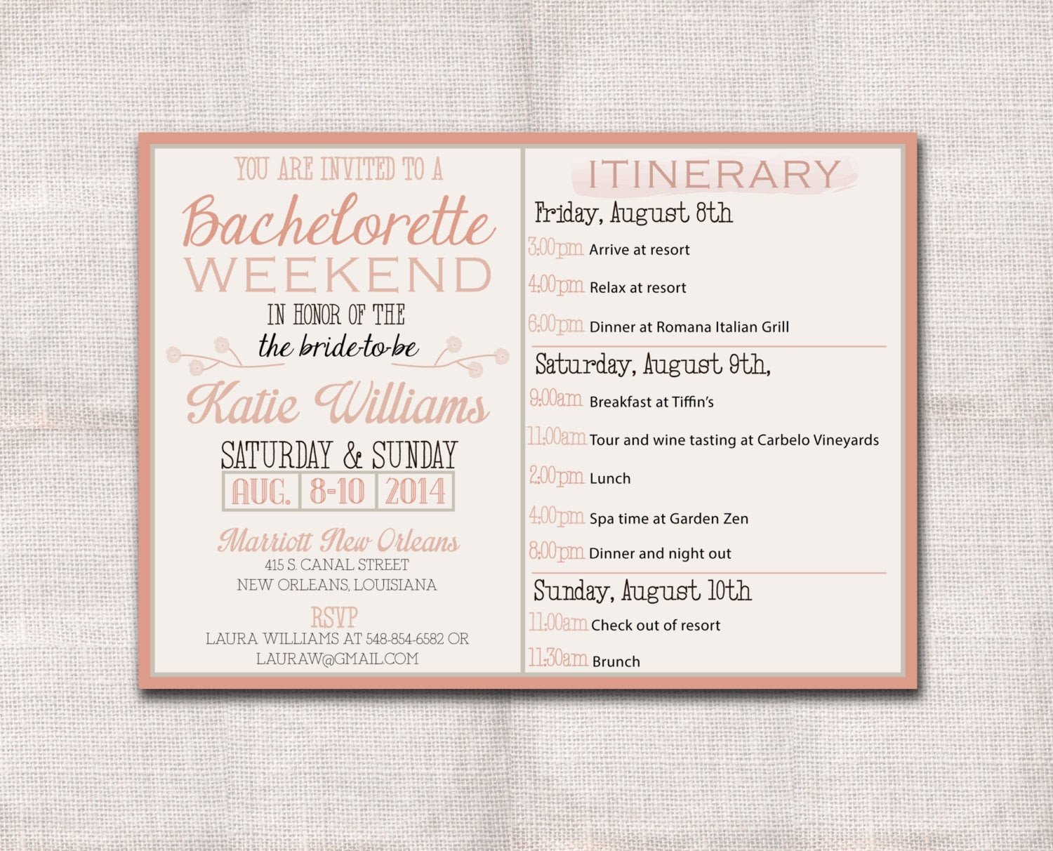 Bachelorette Itinerary Template Free Bachelorette Party Weekend Invitation and Itinerary Custom