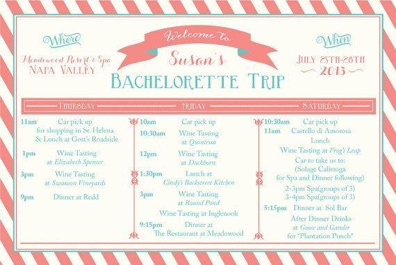 Bachelorette Itinerary Template Free Printable Bachelorette Weekend Itinerary Birthday Weekend