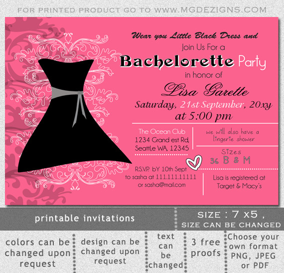 Bachelorette Party Invitations Template Free Printable Little Black Dress Bachelorette Party Invitation