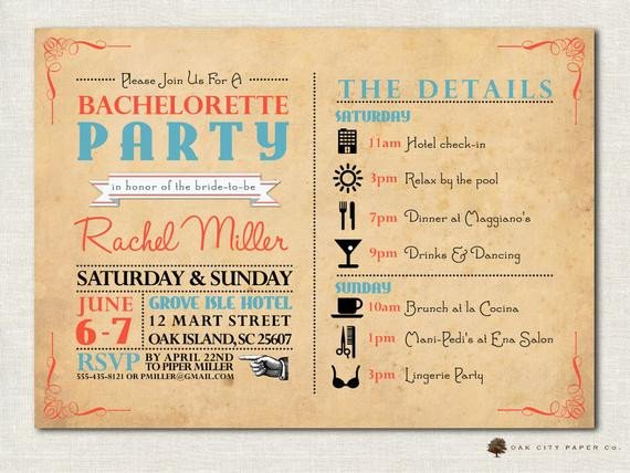 Bachelorette Party Itinerary Template Bachelorette Invitation Bachelorette Party Invitation