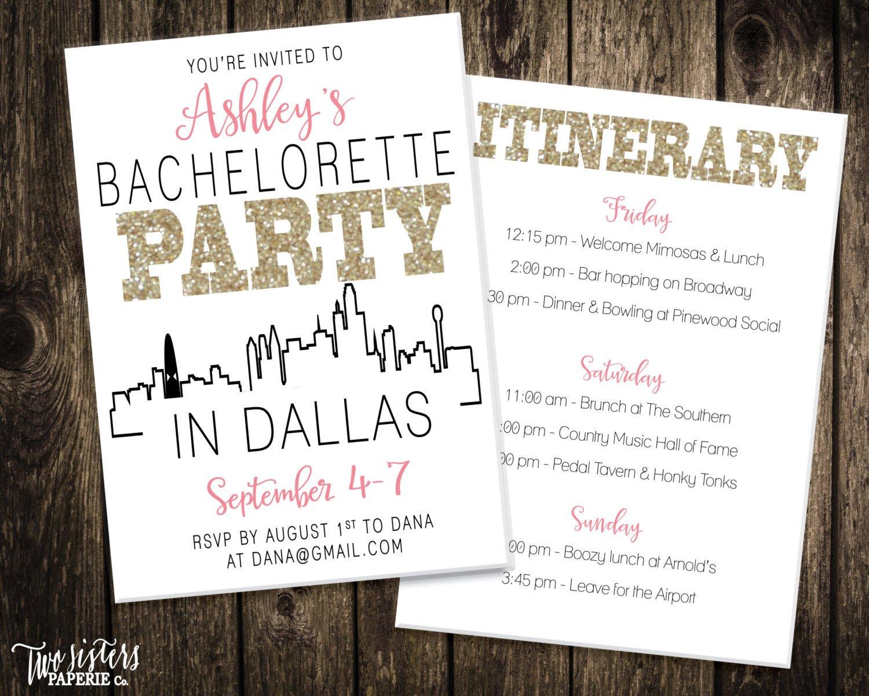 Bachelorette Party Itinerary Template Bachelorette Party Invitation & Itinerary Dallas