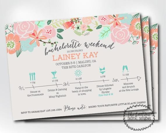 Bachelorette Party Itinerary Template Bachelorette Party Itinerary Invitation Bachelorette Weekend