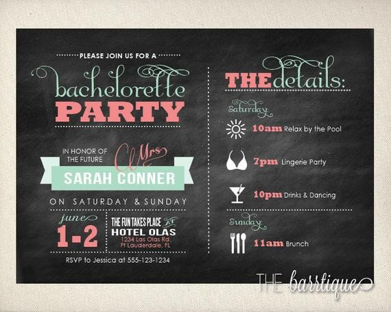 Bachelorette Party Itinerary Template Bachelorette Party Night Weekend Itinerary Modern Invitations