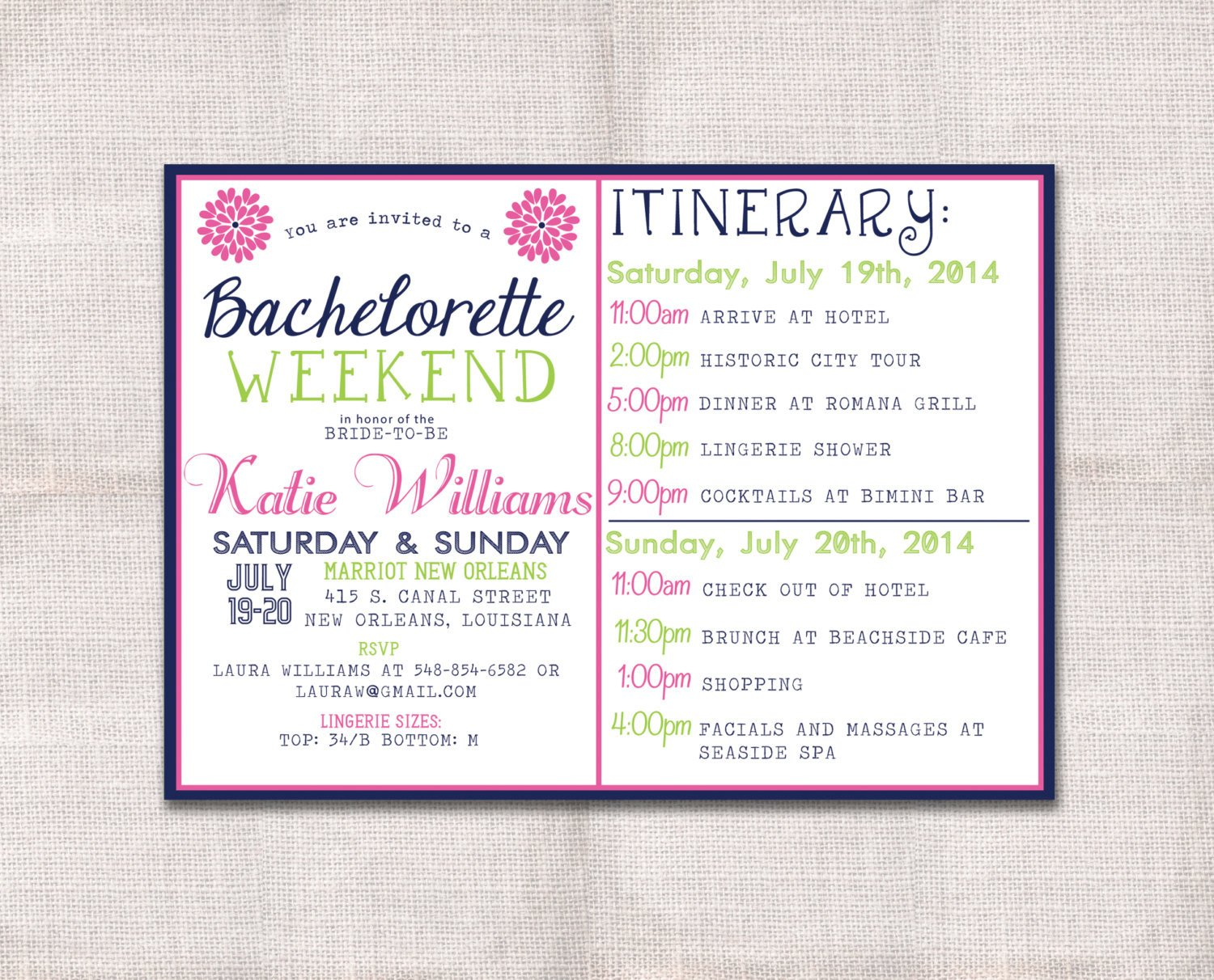 Bachelorette Party Itinerary Template Bachelorette Party Weekend Invitation and by Darlinbrandopress