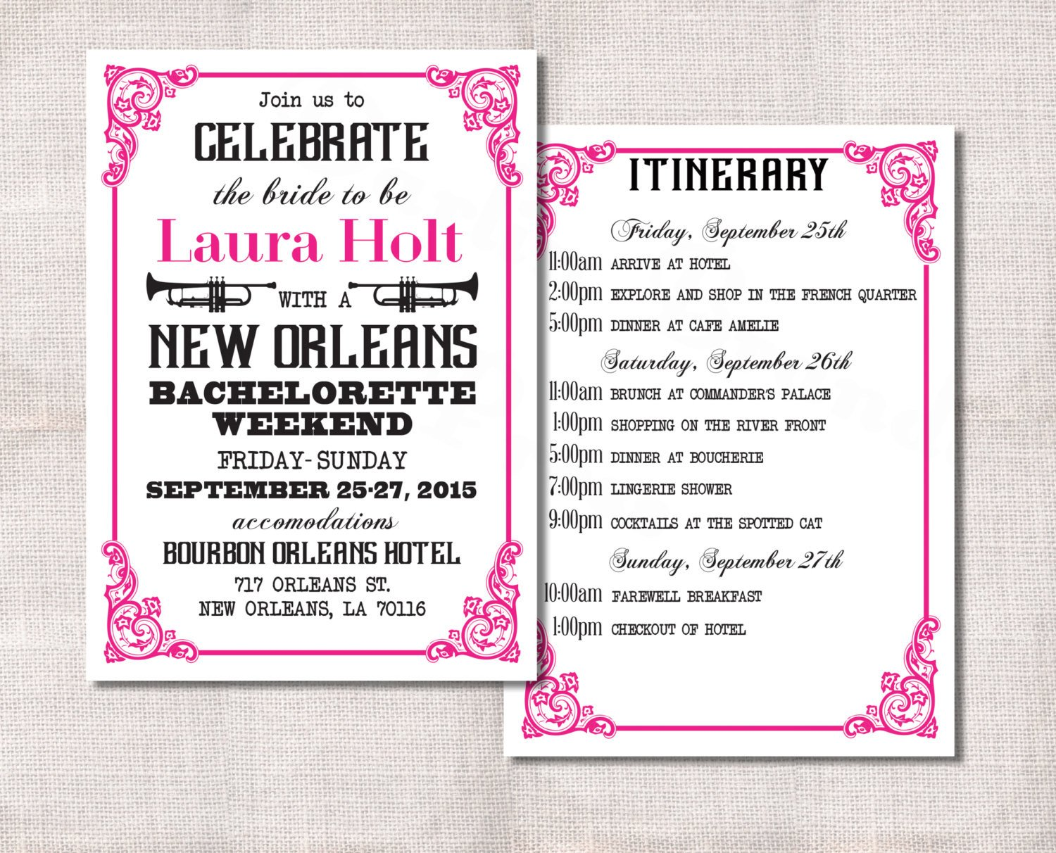 Bachelorette Party Itinerary Template Bachelorette Party Weekend Invitation and Itinerary Custom