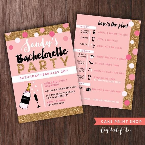 Bachelorette Party Itinerary Template Bachelorette Weekend Invitation with Itinerary Bachelorette