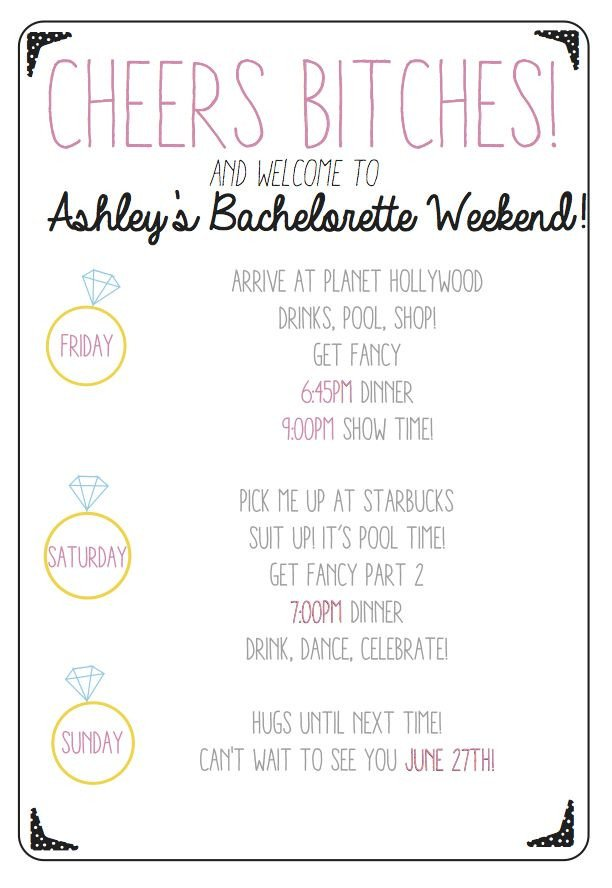 Bachelorette Party Itinerary Template Cheers Bitches Use This Custom Printable Bachelorette