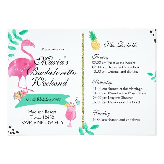 Bachelorette Party Itinerary Template Flamingo Bachelorette Weekend Itinerary Invitation