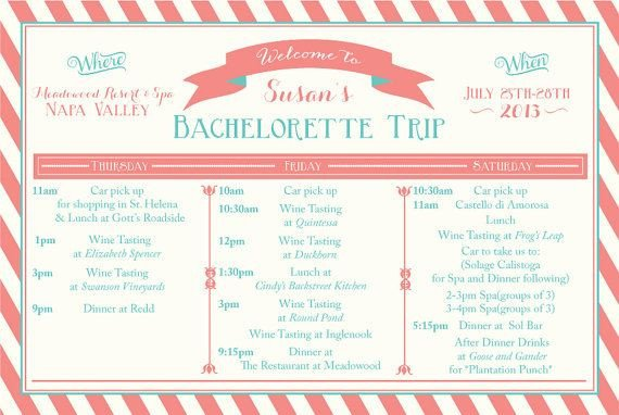 Bachelorette Party Itinerary Template Printable Bachelorette Weekend Itinerary Birthday Weekend