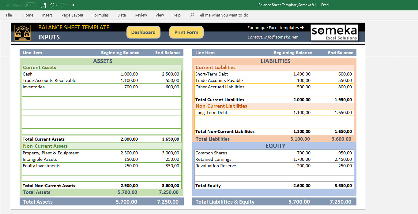 Balance Sheet Template Xls Excel Balance Sheet Template Free Accounting Templates