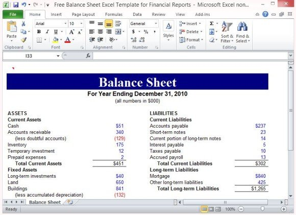 Balance Sheet Template Xls Free Balance Sheet Excel Template for Financial Reports