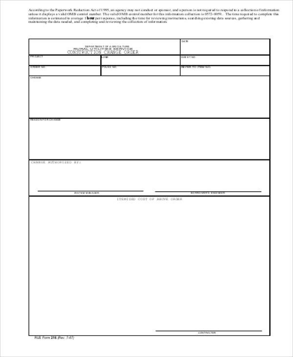 Bank Change order form Template Sample Change order Request form 9 Examples In Word Pdf