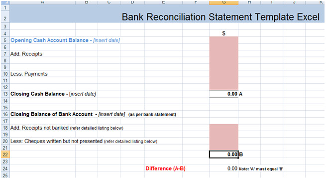 Bank Reconciliation Statement Excel Template XLS