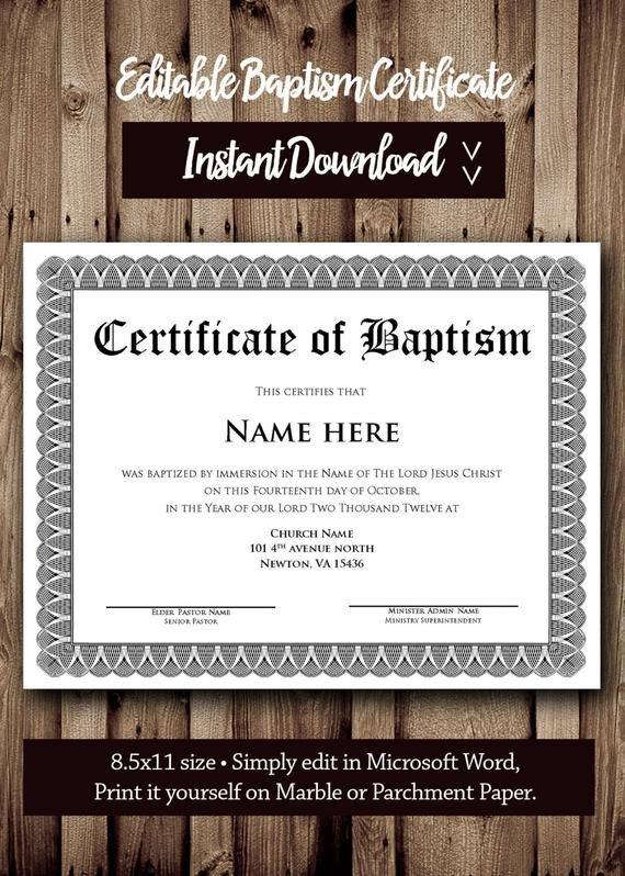 Baptism Certificate Template Word Baptism Certificate Template Microsoft Word Editable