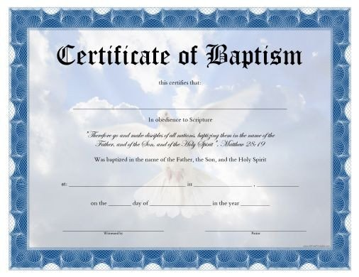 Baptism Certificate Template Word Free Printable Baptism Certificate