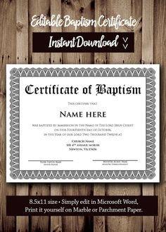 Baptism Certificate Template Word Printable Water Baptism Certificates