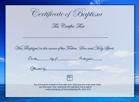 Baptism Certificate Template Word Word Certificate Template 49 Free Download Samples