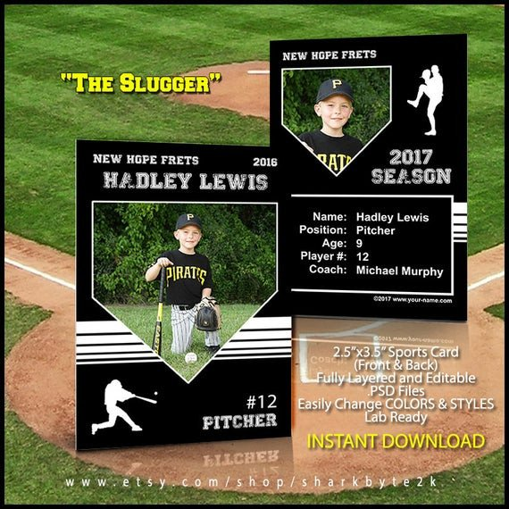 Baseball Card Template Perfect for trading cards for your