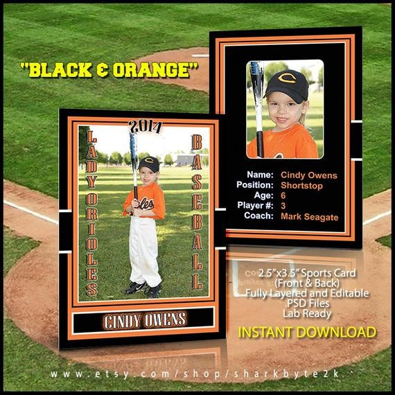 Baseball Card Template Photoshop 2017 Baseball Sports Trader Card Template for Shop Black