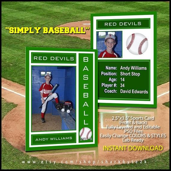 Baseball Card Template Photoshop 2017 Baseball Sports Trader Card Template for Shop Simply