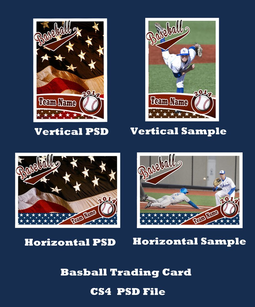Baseball Card Template Photoshop Baseball Card Template Psd Cs4 Shop by Bevie55 On