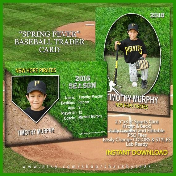 Baseball Card Template Photoshop Baseball Sports Trader Card Template for Shop Spring