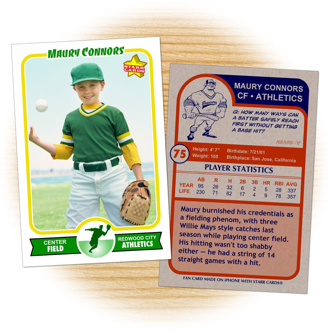 Baseball Card Template Word Make Your Own Baseball Card with Starr Cards