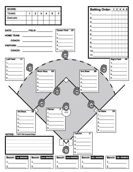 Baseball Depth Chart Template Baseball Line Up Custom Designed for 11 Players Useful
