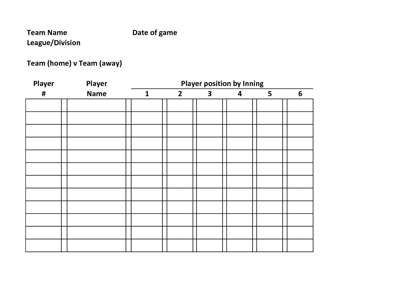 Baseball Line Up Card Baseball Lineup Defensive