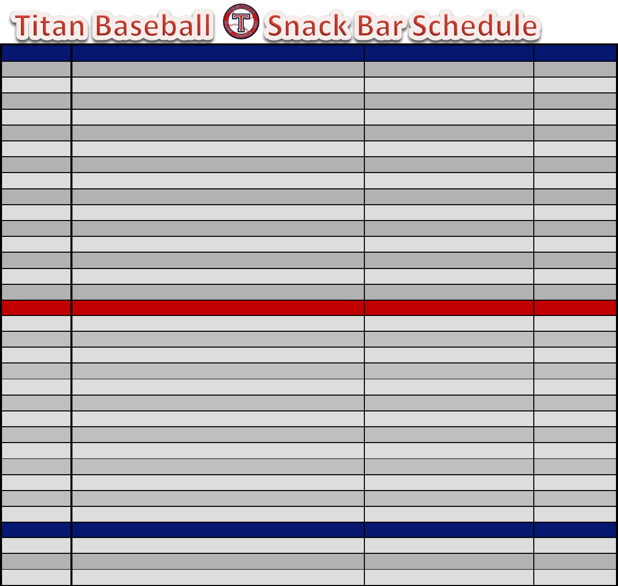 Baseball Snack Schedule Template Download Baseball Snack Schedule Template for Free
