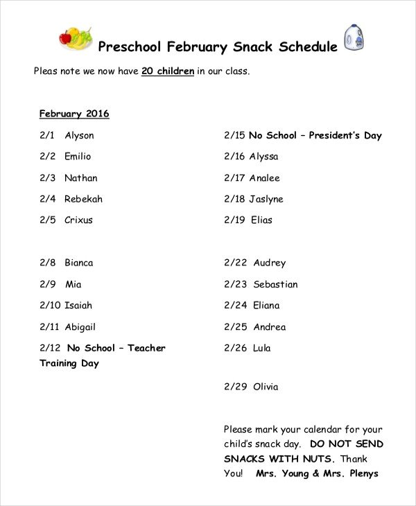 Baseball Snack Schedule Template Snack Schedule Template 7 Free Word Excel Pdf